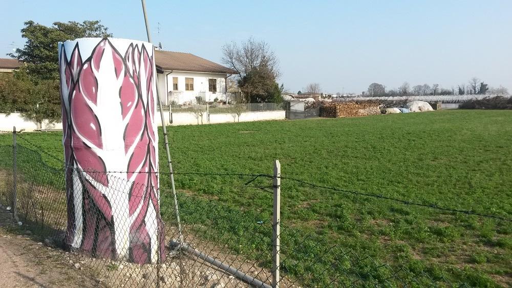 Murales dell'artista Cibo che compare su una strada di Verona