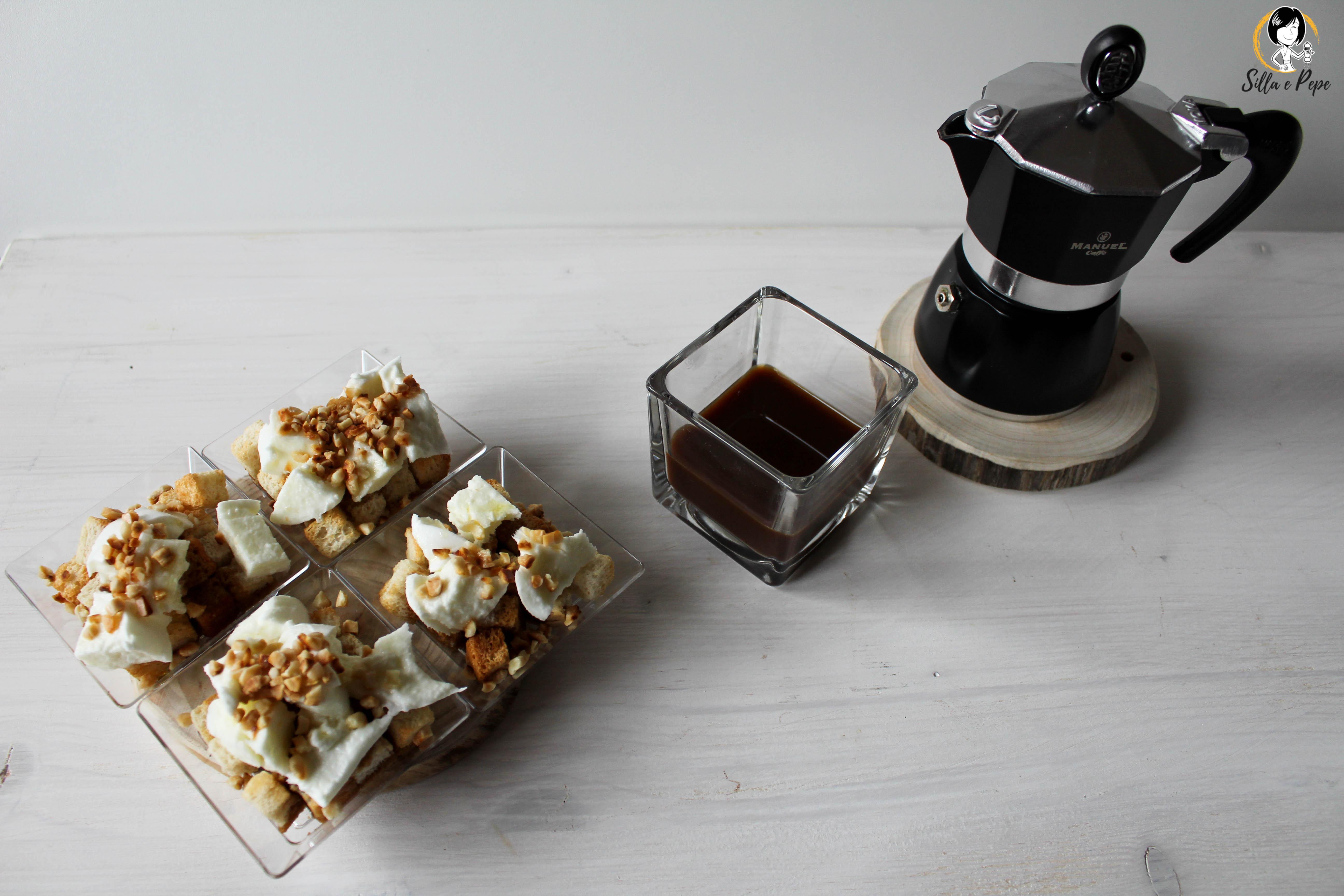 bruschettine al caffè mozzarella di bufala e granella di mandorle per Masterclass Manuel Caffè